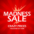 Madness sale red banner retro style Stock Photo
