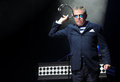 Madness singer graham mcpherson alias suggs of famous british band during performance at festival rock for people in hradec Stock Photos