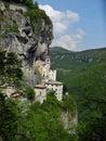 Madonna della corona sanctuary view of spiazzi monte baldo verona veneto italy Stock Image