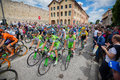 Madonna di campiglio italia maggio professional cyclists during giro d italia group of the fifteenth stage of the tour of italy Royalty Free Stock Image