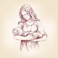 Madonna mary holding baby jesus vector llustration hand drawn Stock Photo
