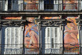 Madrid cityscape mar painted building in plaza mayor on mar it s s historical square it s beauty sidewalk cafes and restaurants Stock Photography