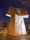 Madrid one part of monumento al descubrimiento de america by joaquin vaquero turcios in dusk Stock Photography