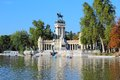Madrid retiro park capital city of spain monument to alfonso xii in Royalty Free Stock Image