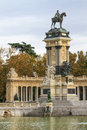 Madrid retiro park monument to alonso xii spain Stock Photo