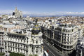 Madrid skyline spain july aerial view of gran vía and s on a summer early morning with the metropolis building to be Stock Photo
