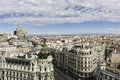 Madrid skyline spain july aerial view of gran vía and s on a summer early morning with the metropolis building to be Stock Images