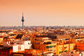 Madrid skyline at sunset in a warm day Royalty Free Stock Photos