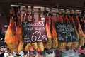 Madrid spain august jamon market in august in madrid spain jamon spanish word for ham traditional meat in span cuisine Royalty Free Stock Image
