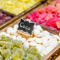 Sweets stand exposing colorful comfit in a market Royalty Free Stock Photo