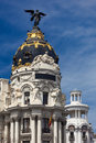 Madrid spain famous statue gran via on the top Royalty Free Stock Photography