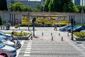 Madrid, Spain - June 17 : Minions painted next to the traffic si