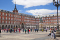 Madrid spain may plaza mayor and statue of philip iii in front of his house city centre Royalty Free Stock Image