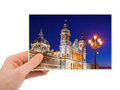 Madrid spain photography in hand my photo isolated on white background Royalty Free Stock Photography