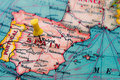 Madrid , Spain pinned on vintage map of Europe Royalty Free Stock Photo