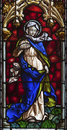 Madrid virgin mary from windowpane of church san jeronimo el real on march in spain Stock Photos