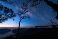 Mae Ping river view point. Silhouette tree with the milky way and mountain lake on background before sunrise Royalty Free Stock Photo