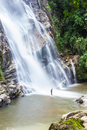 Mae tia waterval ob long nationaal park in chiangmai thailand Royalty-vrije Stock Fotografie