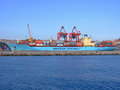 Maersk sealand istanbul turkey july in istanbul on july long container ship at terminal in istanbul turkey Royalty Free Stock Photos