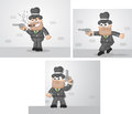 Mafia boss set vector cartoon outline three cartoons waiting tiptoeing smoking Stock Photo