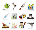 Mafia and organized criminality activity icons Royalty Free Stock Image