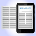 Magazine on black smartphone electronic Stock Images