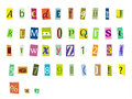 Magazine letters newspaper alphabet with and numbers Stock Images