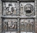 The Magdeburg Gates - the doors of the St. Sophia Cathedral in V Royalty Free Stock Photo