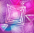 Magenta background with linear diamonds cutting abstract Stock Images