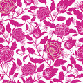 Magenta floral silhouettes seamless pattern vector background with hand drawn flowers on light background Stock Images