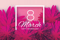 Magenta Pink Paper flower. Women`s Day. 8 March. Square