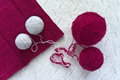Magenta and white clews on knitwear are Royalty Free Stock Photo