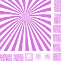 Magenta white ray burst background set Royalty Free Stock Photo