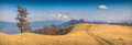 Magestic carpathian landscape beautiful mountain valley with yellow autumn grass Royalty Free Stock Photography