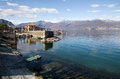 Maggiore lake view to piedmont italy Stock Photo