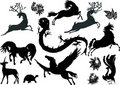 Magic animals silhouettes Stock Images