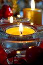 Magic atmosphere with candle in christmas time Royalty Free Stock Photo