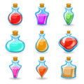 Magic beverages potions poisons icons set isolated cartoon design vector illustration