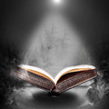 Magic book hovering in the misty haze open Royalty Free Stock Image