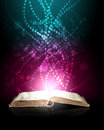 Magic book light coming inside Royalty Free Stock Images