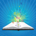 Magic book opened with light image contains gradient mesh Royalty Free Stock Photo