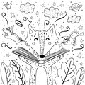 Magic in the books coloring page with cute wolf. Black and white background for adults and children