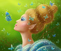 Magic butterflies Fantasy  beauty woman fairy Royalty Free Stock Photo