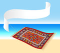 Magic carpet with banner illustration of a flying a that can be labeled ocean shore in the background isolated vector Stock Photography