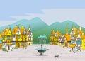 Magic cartoon medieval town
