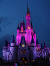 Magic castle night pink purple lighting Royalty Free Stock Images