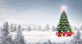 Magic Christmas tree in snow outdoor Royalty Free Stock Photo