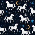 Magic cute unicorn walking in Galaxy, constellations seamless pattern. Nursery