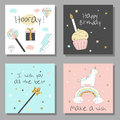 Magic design cards set with unicorn, rainbow, hearts, clouds