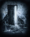 Magic door in a graveyard Royalty Free Stock Photo